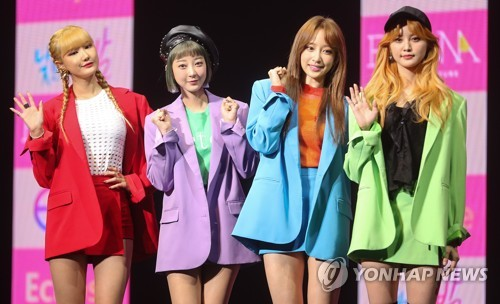 """South Korean girl group EXID poses during a media event for its third EP album """"Eclipse"""" at the Blue Square Samsung Card Hall in central Seoul on April 10, 2017. (Yonhap)"""