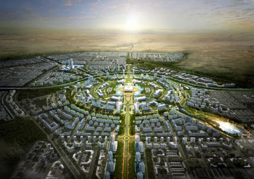 This is a virtual image of a smart city to be built in Kuwait by South Korean builders. (Yonhap file photo)