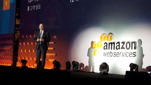 Doug Yeum, general manager at Amazon Web Service (AWS) Korea, speaks during the AWS Summit 2017 in Seoul, on April 19, 2017. (Yonhap)