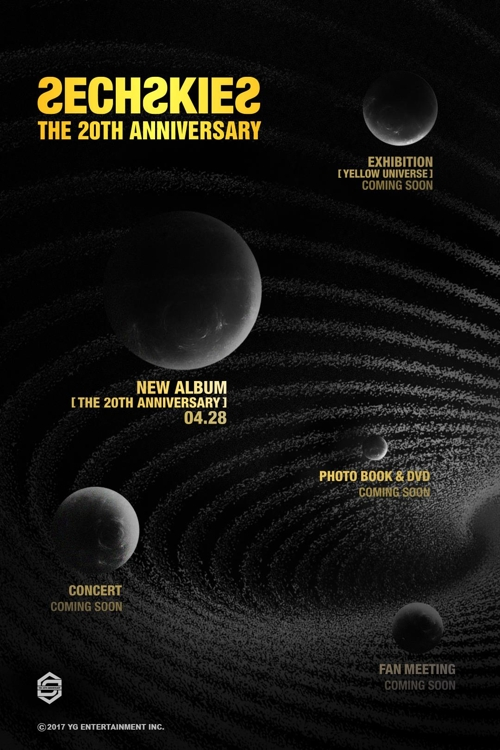 This poster uploaded on YG Entertainment's official blog shows a number of upcoming events to mark the 20th anniversary of boy band Sechs Kies. (Yonhap)