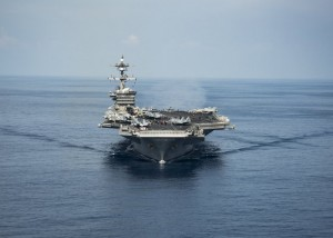 The aircraft carrier Carl Vinson. It's not easy to misplace a flotilla of warships, but it wasn't headed last week where the president said. Credit Z.A. Landers/U.S. Navy, via Reuters