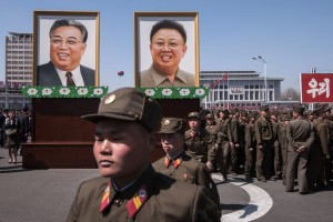 Portraits of Kim Il-sung, left, and Kim Jong-il, the first two leaders of North Korea, in Pyongyang, the capital, on Thursday. Kim Il-sung's birthday is on Saturday, an occasion often marked by shows of military might. Credit Ed Jones/Agence France-Presse — Getty Images