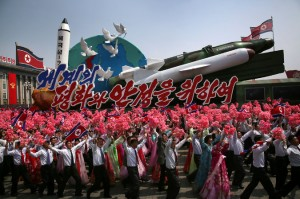 Last Saturday, North Korea celebrated its founder's birth with the annual parade showing off the nation's military strength. Credit Wong Maye-E/Associated Press