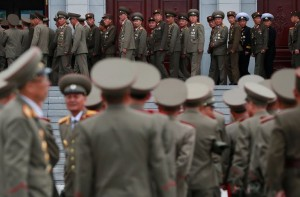 Soldiers last week at the birthplace compound of Kim Il-sung, North Korea's founder and grandfather of the current leader, Kim Jong-un, in Pyongyang, the capital. CreditHow Hwee Young/European Pressphoto Agency