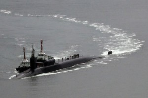The guided missile submarine Michigan at a base in Busan, South Korea, on Tuesday. Its presence reflected heightened military readiness on both sides of the Korean Peninsula. Credit Cho Jueong-ho/Yonhap, via Reuters