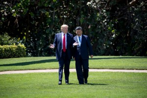 President Trump with President Xi Jinping of China at the Mar-a-Lago resort in Palm Beach, Fla., this month. The latest call between the leaders came during warnings that North Korea may be preparing a nuclear test. Credit Doug Mills/The New York Times