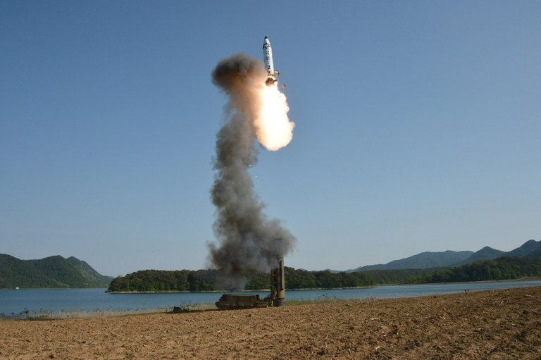 The medium-range strategic ballistic missile Pukguksong-2, shown in this undated image, was tested recently at an undisclosed location in North Korea. The North has successfully tested solid-fueled missiles four times. Credit Korean Central News Agency, via European Pressphoto Agency