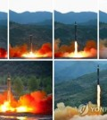 North Korea test-fires a new mid-to-long-range rocket, which it calls the Hwasong-12, on May 14, 2017, in these photos released by Pyongyang's state media a day later. (For Use Only in the Republic of Korea. No Redistribution) (KCNA-Yonhap)