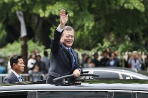 President Moon Jae-in of South Korea after the inaugural ceremony in Seoul, the capital, on Wednesday. He hinted at balancing diplomacy between the United States and China, his country's largest trading partner. Credit Yonhap, via Reuters