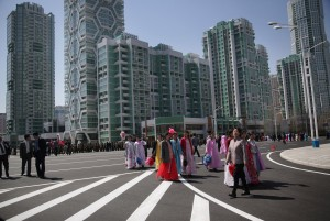 New apartment towers along Ryomyong Street in Pyongyang, North Korea, which has experienced a construction boom. Credit Wong Maye-E/Associated Press