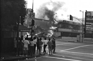 Buildings burning in Koreatown, in Los Angeles, during the 1992 riots. Credit Gary Leonard/Corbis, via Getty Images