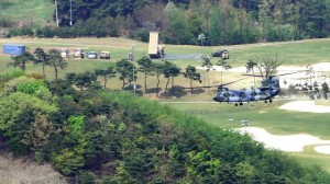 This picture taken on April 26, 2017, shows U.S. THAAD missile defense equipment (top, center) at a former golf course in the southern South Korean county of Seongju. (STR / AFP/Getty Images)