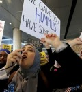 Women protest President Trump's travel ban during a rally at Los Angeles International Airport on Feb. 4. (Los Angeles Times)