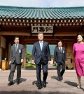 President Moon Jae-in of South Korea, center, at the presidential Blue House in Seoul in May. China is trying to woo Mr. Moon and chip away at the American alliance with South Korea. Credit Yonhap, via Reuters