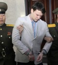 """Otto Warmbier at the Supreme Court in Pyongyang, North Korea, in March 2016. Released on Tuesday, Mr. Warmbier was in stable condition, with a """"severe neurological injury,"""" according to doctors in Cincinnati. Credit Jon Chol Jin/Associated Press"""