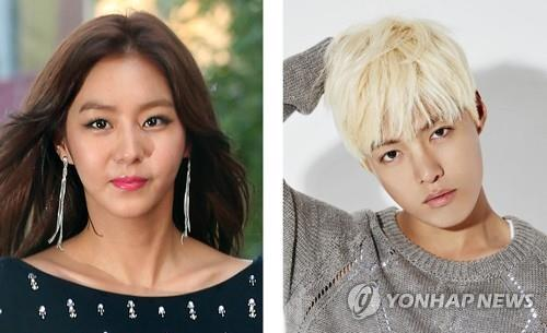 This combined photo shows actress Uee (L), a former member of South Korean girl group After School, and singer Kangnam. Uee, 29, and Kangnam, 30, have been dating since April, entertainment sources said July 14, 2017. (Yonhap)