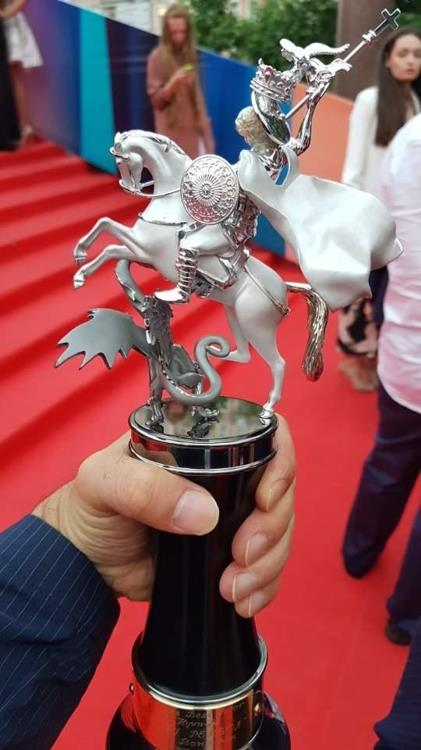 This photo provided by actor Son Hyun-joo shows the Best Actor trophy from the Moscow International Film Festival on June 29, 2017. (Yonhap)