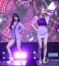 "Girl group Mamamoo performs at a media showcase for its fifth EP album ""Purple"" on June 22, 2017, at the Yes24 MUV Hall in western Seoul. (Yonhap)"
