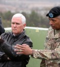 "Gen. Vincent K. Brooks, right, the top American commander in South Korea, with Vice President Mike Pence. ""Self-restraint, which is a choice, is all that separates armistice and war,"" the general said on Wednesday. Credit Lee Jin-Man/Associated Press"