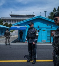 Soldiers in the border-straddling village of Panmunjom in the Demilitarized Zone, where the two Koreas have often held talks. Credit Lam Yik Fei for The New York Times