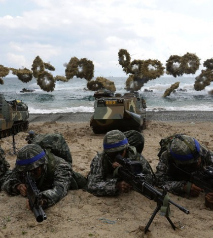 South Korean troops in Pohang, South Korea, during military exercises in April with the United States military. Credit Chung Sung-Jun/Getty Images
