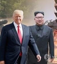 This image shows U.S. President Donald Trump (L) and North Korean leader Kim Jong-un. (Yonhap)