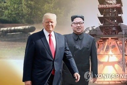 This image shows U.S. President Donald Trump (L) and North Korean leader Kim Jong-un. (Yonhap)