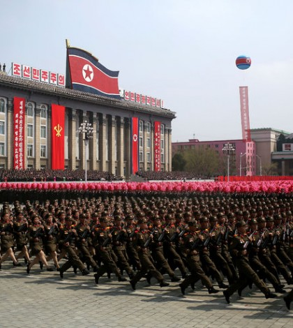 A military parade celebrating the 105th birthday of North Korea's founder, Kim Il-sung, in Pyongyang in April. Credit Wong Maye-E/Associated Press