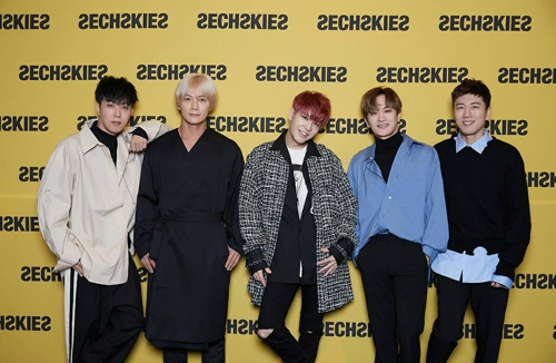 Sechskies poses for the camera during a press conference at CGV Cheongdam Cine City in southern Seoul on Sept. 21, 2017. (Yonhap)