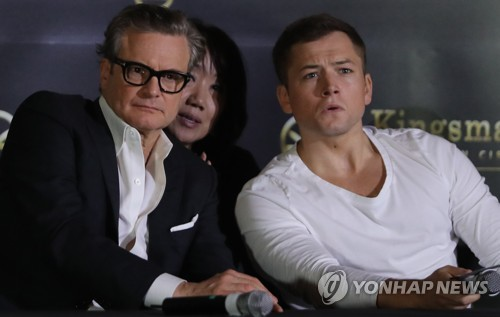 "Hollywood actors Colin Firth (L) and Taron Egerton, who star in the new movie ""Kingsman: The Golden Circle, 2017,"" attend a publicity event in Seoul on Sept. 21, 2017. The movie will be released in South Korea on Sept. 27. (Yonhap)"
