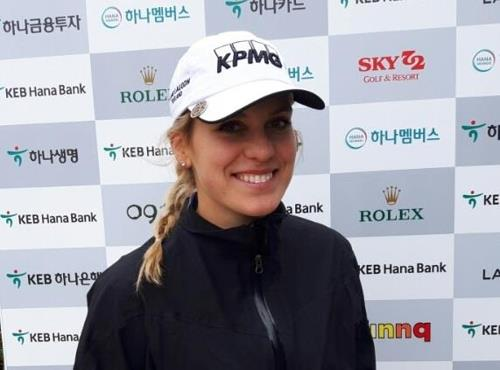 Olafia Kristinsdottir of Iceland poses for pictures after an interview with Yonhap News Agency after the first round of the LPGA KEB Hana Bank Championship at Sky 72 Golf & Resort's Ocean Course in Incheon on Oct. 12, 2017. (Yonhap)