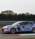 In this photo, taken during the TCR Europe Trophy event held in Italy from Oct. 27-29, Hyundai Motor Co.'s i30 N TCR runs the Adria International Raceway to win the race. (Photo courtesy of Hyundai Motor) (Yonhap)