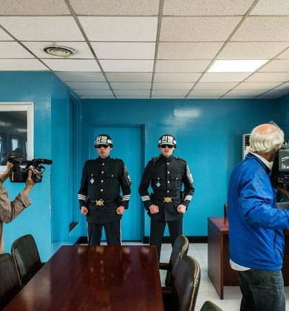 Inside the conference room that straddles the North-South border in the truce village of Panmunjom. Credit Lam Yik Fei for The New York Times