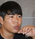 In this file photo taken on Sept. 20, 2017, Kang Jung-ho of the Pittsburgh Pirates speaks to Yonhap News Agency in an interview in Gwangju. (Yonhap)