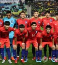 This file photo, taken on Nov. 10, 2017, shows the South Korean men's national football team players before they play against Colombia in a friendly match in Suwon, Gyeonggi Province. (Yonhap)