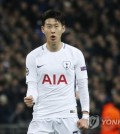 In this photo taken by the Associated Press, Tottenham Hotspur's Son Heung-min celebrates after scoring a goal against Apoel FC during their UEFA Champions League Group H match at Wembley Stadium in London on Dec. 6, 2017. (Yonhap)