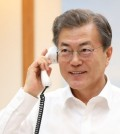 This photo provided courtesy of the presidential office, Cheong Wa Dae, shows South Korean President Moon Jae-in during his telephone conversation with U.S. President Donald Trump on Jan. 4, 2018. (Yonhap)