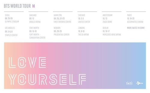 BTS' world tour schedule provided by Big Hit Entertainment (Yonhap)