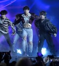 "This photo released by the Associated Press shows BTS staging their first live performance of their new song, ""Fake Love,"" during the 2018 Billboard Music Awards at the MGM Grand Garden Arena in Las Vegas on May 20, 2018 (U.S. time). (Yonhap)"