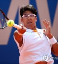 In this Reuters file photo from May 5, 2018, South Korea's Chung Hyeon hits a shot against Alexander Zverev of Germany during their semifinals match at the BMW Open on the ATP Tour in Munich, Germany. (Yonhap)