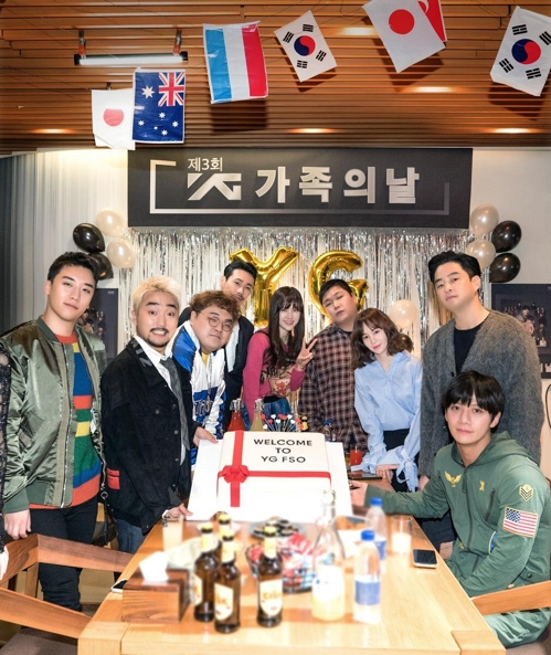 "Cast members of ""YG FSO"" pose for the camera. (Yonhap)"