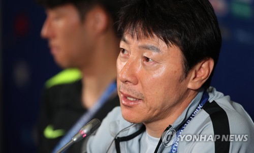 South Korea national football team head coach Shin Tae-yong speaks at a press conference at Kazan Arena in Kazan, Russia, on June 26, 2018, one day ahead of the 2018 FIFA World Cup Group F match between South Korea and Germany. (Yonhap)