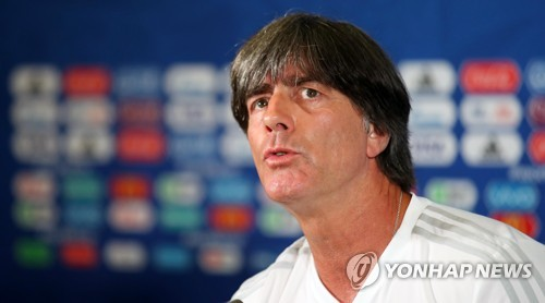 Germany national football team head coach Joachim Low speaks at a press conference at Kazan Arena in Kazan, Russia, on June 26, 2018, one day ahead of 2018 FIFA World Cup Group F match between South Korea and Germany. (Yonhap)