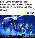 This photo captured from the Billboard website on May 28, 2018 reports BTS taking the top spot on the Billboard chart of the top 200 albums. (Yonhap)