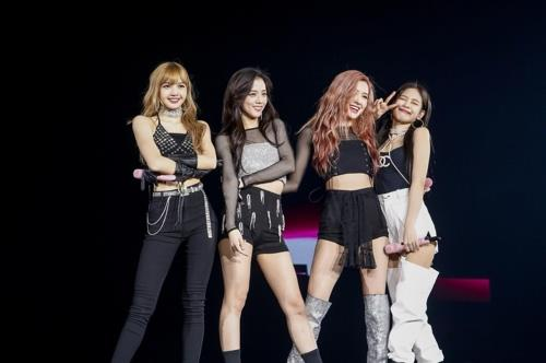 This photo provided by YG Entertainment shows BLACKPINK during a concert in Osaka, Japan, on July 24, 2018. (Yonhap)