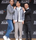 """TV personality Lee Sang-min (C) attends an event in Seoul on July 3, 2018, to promote cable television History Channel's upcoming drag racing survival program """"Just Speed,"""" in this photo courtesy of KT Corp. The program will also be available on Olle TV mobile. (Yonhap)"""