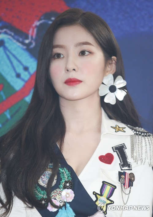 Red Velvet leader Irene poses for photos during a press conference on Aug. 5, 2018. (Yonhap)