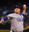 In this Getty Images file photo from May 2, 2018, Ryu Hyun-jin of the Los Angeles Dodgers throws a pitch against the Arizona Diamondbacks in the bottom of the first inning of a Major League Baseball regular season game at Chase Field in Phoenix. Ryu sustained a groin injury during that game and hasn't pitched in the majors since. He is set to start against the San Francisco Giants on Aug. 15, 2018. (Yonhap)