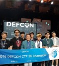 """This photo provided by the Ministry of Science and ICT on Aug. 13, 2018 shows a South Korean team, """"DEFKOR00T,"""" at DEFCON 26. (Yonhap)"""