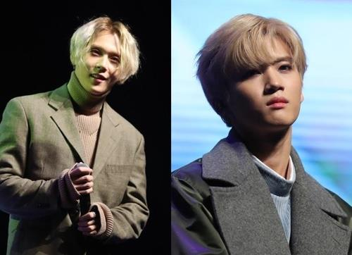 These images show Pentagon members E'Dawn (L) and Yan An. (Yonhap)